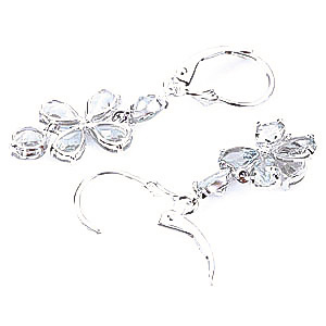 Aquamarine Blossom Drop Earrings 5.32ctw in 9ct White Gold