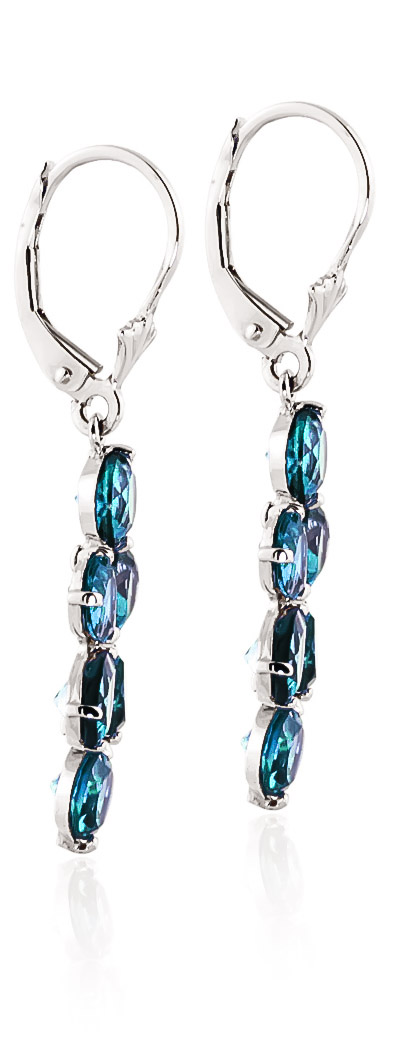 Blue Topaz Blossom Drop Earrings 5.32ctw in 9ct White Gold