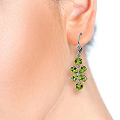 Peridot Blossom Drop Earrings 5.32ctw in 9ct White Gold