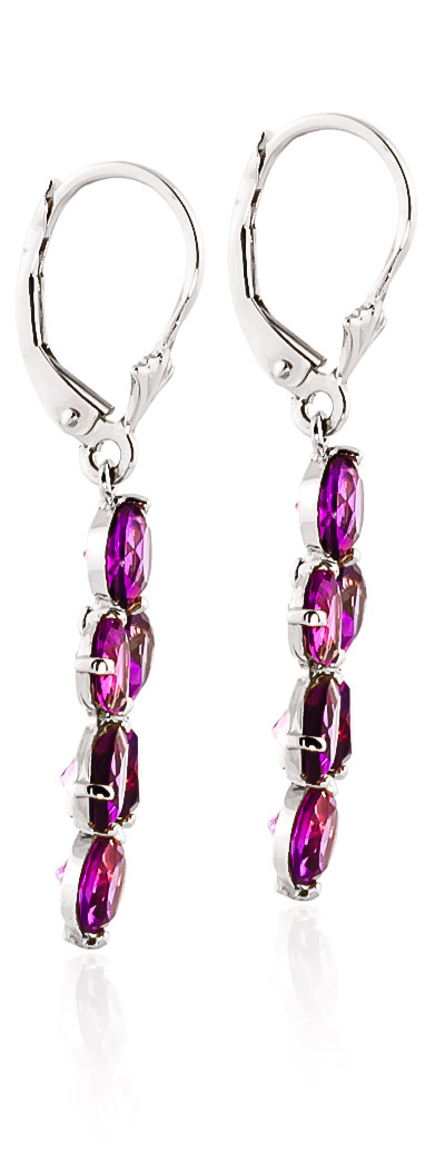 Pink Topaz Blossom Drop Earrings 5.32ctw in 9ct White Gold