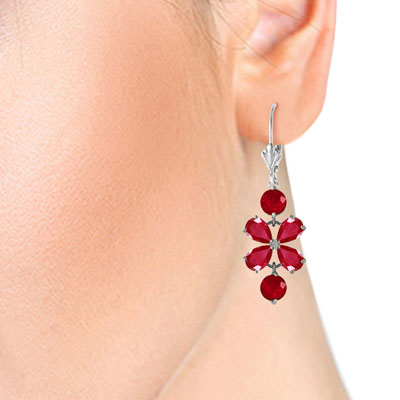 Ruby Blossom Drop Earrings 5.32ctw in 14K White Gold