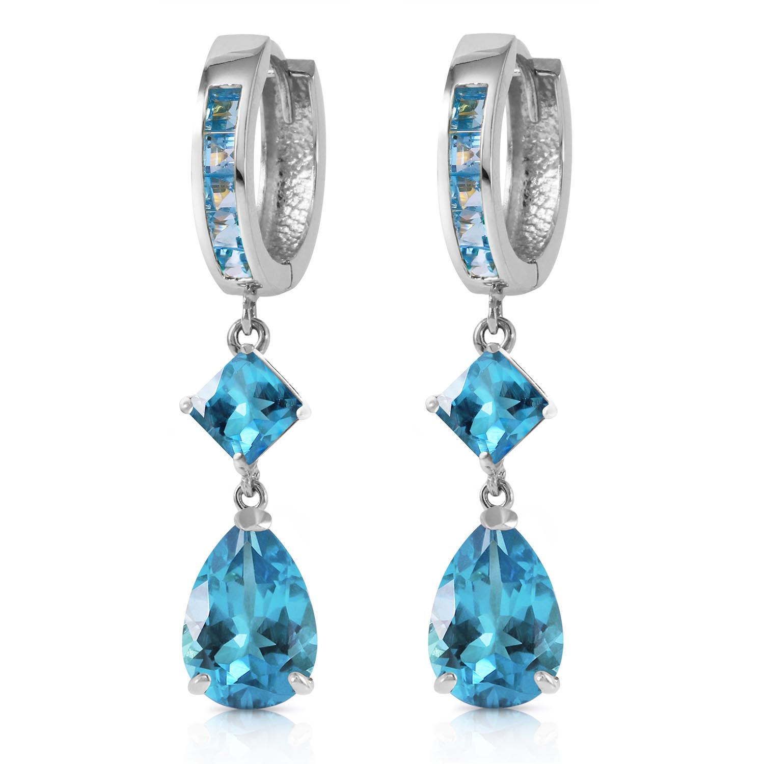 Blue Topaz Droplet Huggie Earrings 5.62ctw in 14K White Gold