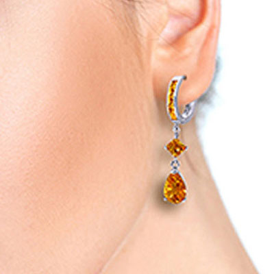 Citrine Droplet Huggie Earrings 5.62ctw in 9ct White Gold