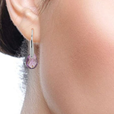 Amethyst Briolette Drop Earrings 6.0ctw in 14K White Gold