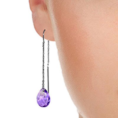 Amethyst Scintilla Briolette Earrings 6.0ctw in 9ct White Gold