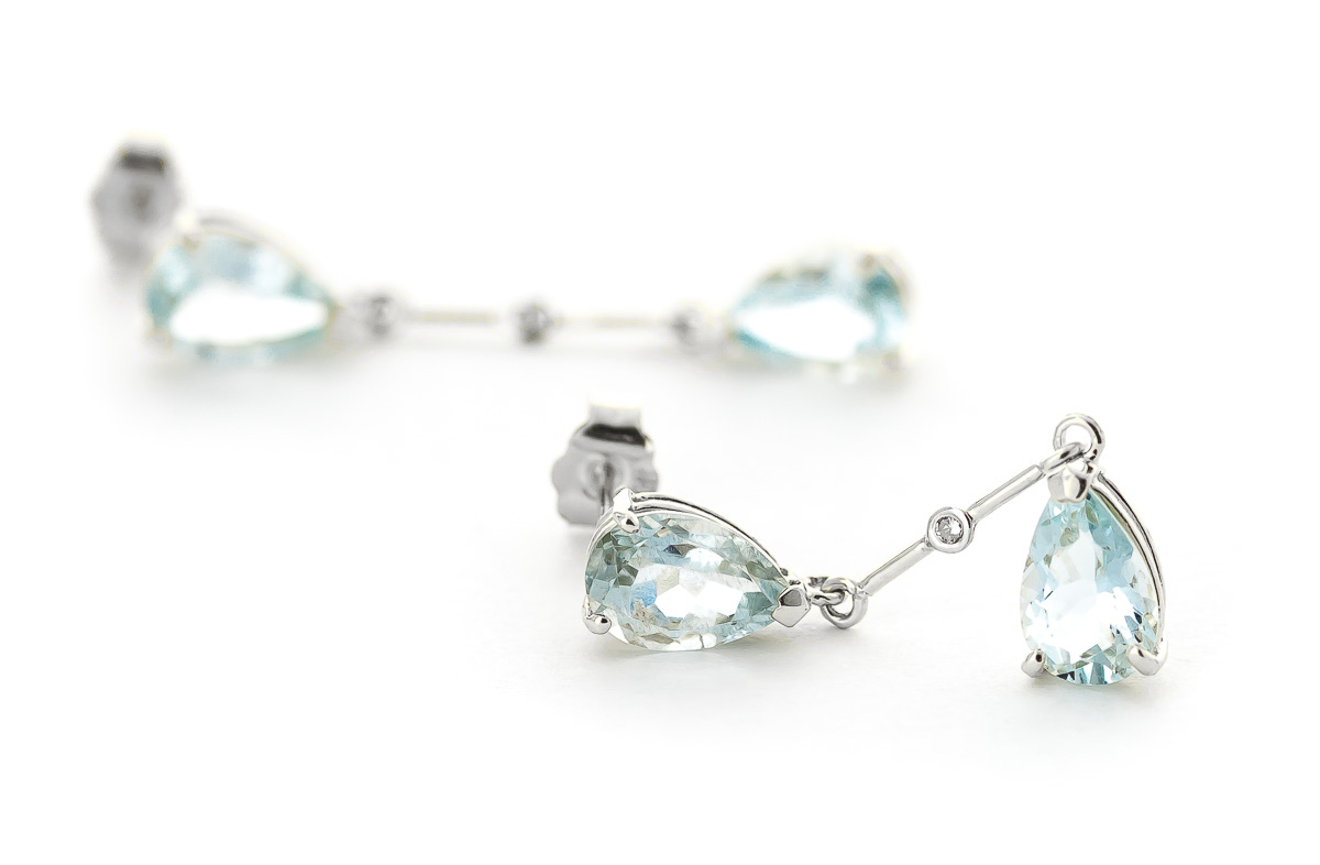 Aquamarine and Diamond Drop Earrings 6.0ctw in 14K White Gold