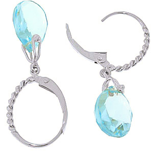 Blue Topaz Plait Stem Briolette Drop Earrings 6.0ctw in 9ct White Gold