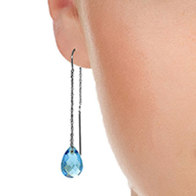 Blue Topaz Scintilla Briolette Earrings 6.0ctw in 14K White Gold