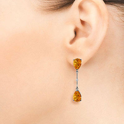 Citrine and Diamond Drop Earrings 6.0ctw in 14K White Gold