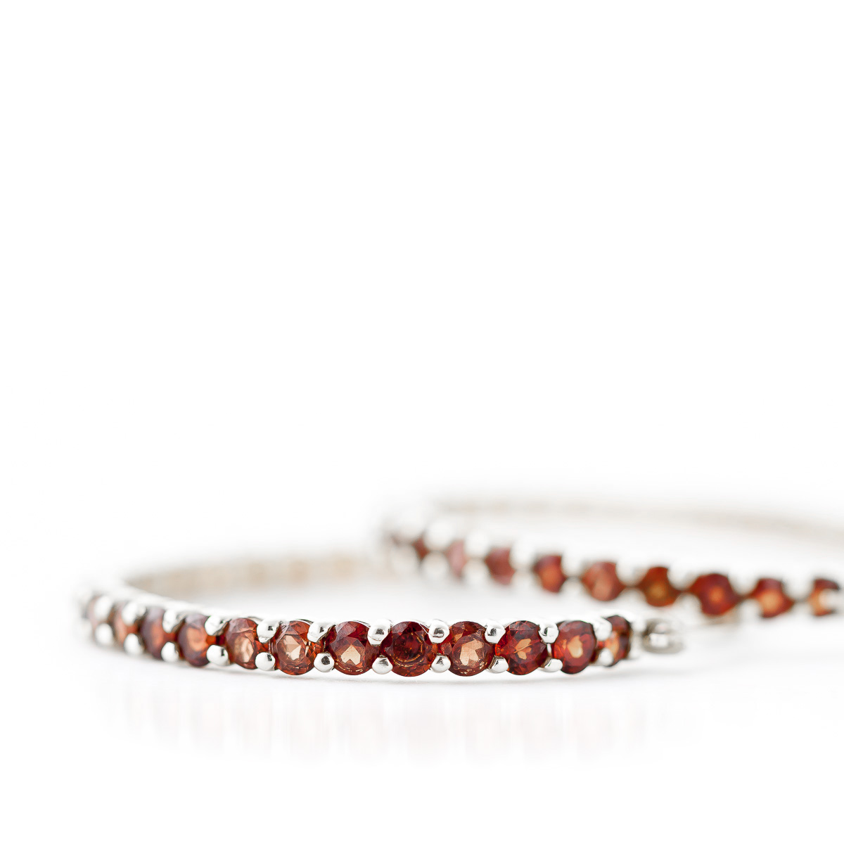 Garnet Metro Hoop Earrings 6.0ctw in 9ct White Gold
