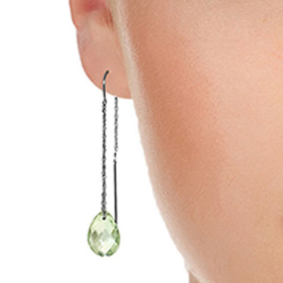 Green Amethyst Scintilla Briolette Earrings 6.0ctw in 9ct White Gold