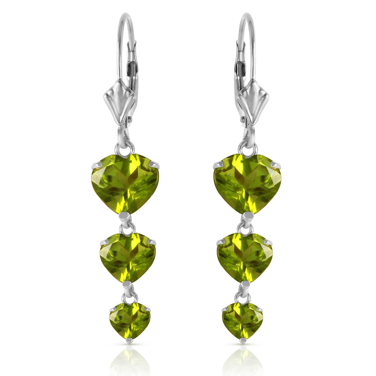 Peridot Triple Heart Drop Earrings 6.0ctw in 14K White Gold