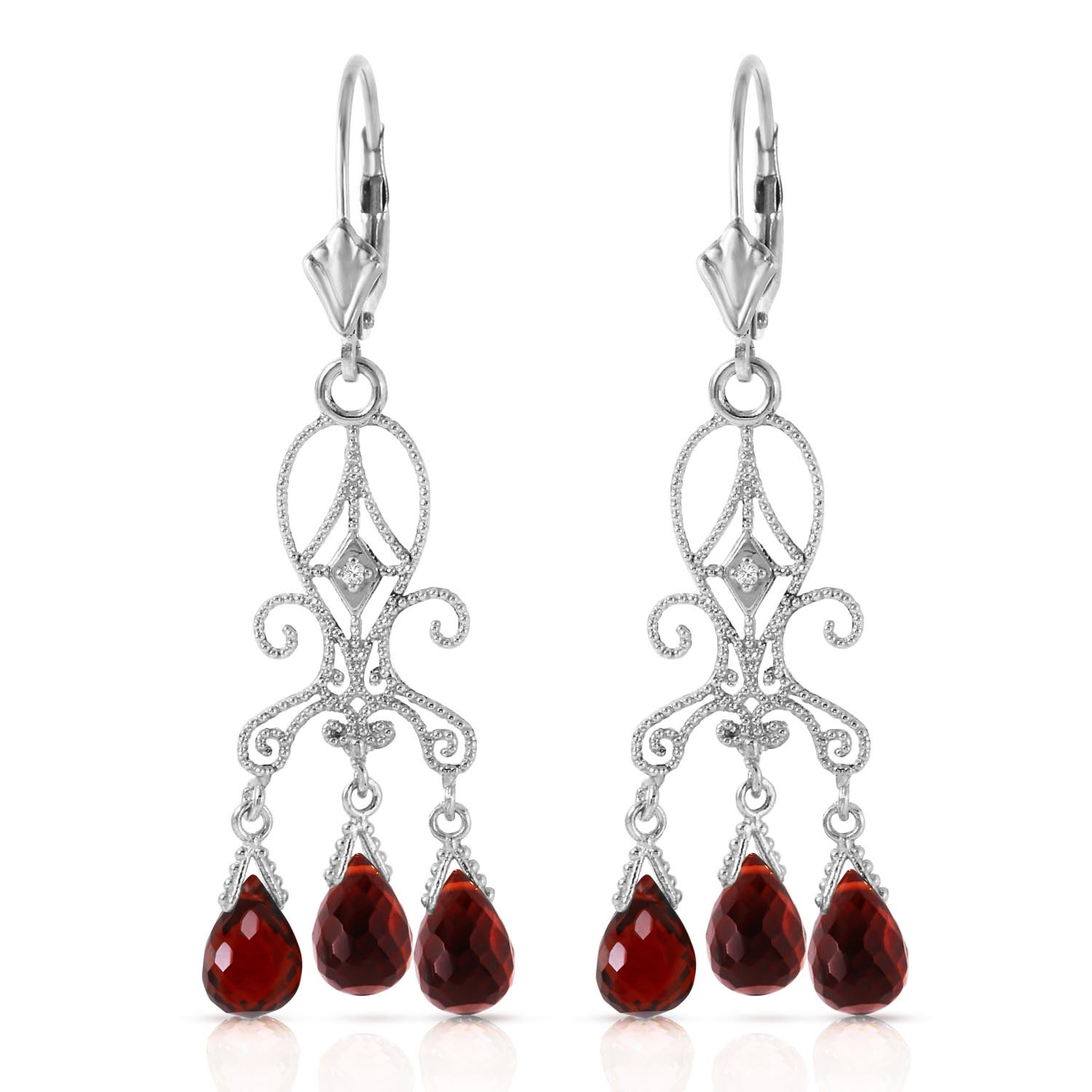 Garnet and Diamond Baroque Drop Earrings 6.3ctw in 9ct White Gold