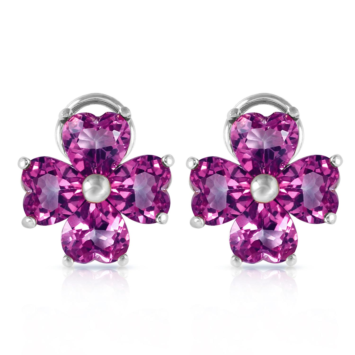 Amethyst Flower Heart Stud Earrings 6.5ctw in 9ct White Gold