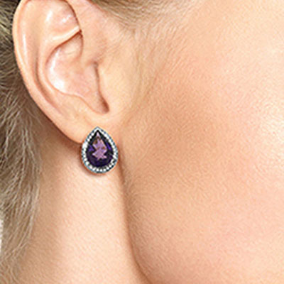 Amethyst and Diamond French Clip Halo Earrings 6.5ctw in 9ct White Gold
