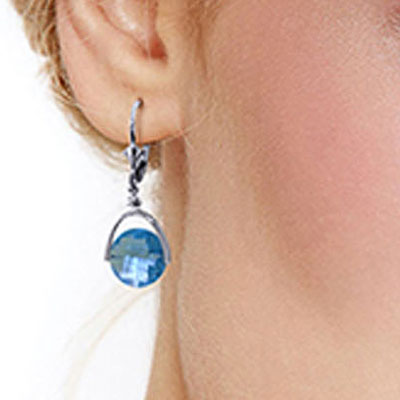 Blue Topaz Drop Earrings 6.5ctw in 14K White Gold