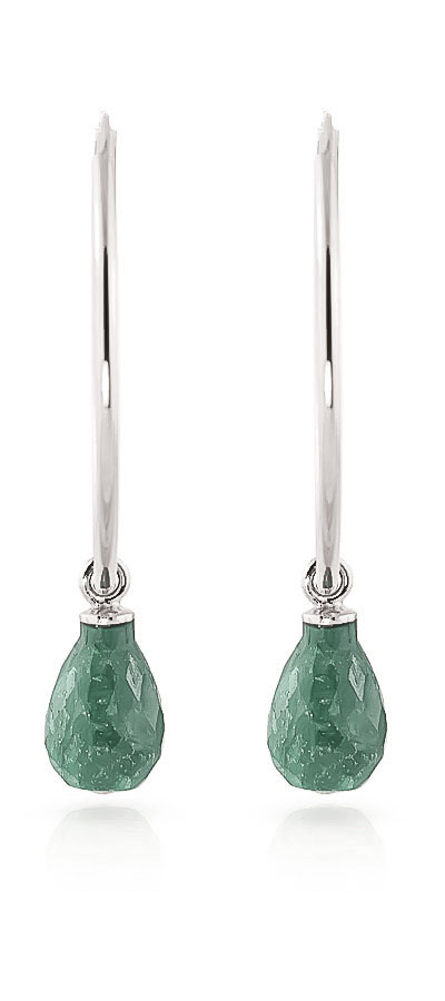Emerald Briolette Earrings 6.6ctw in 14K White Gold