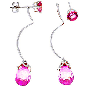 Pink Topaz Lure Drop Earrings 6.8ctw in 9ct White Gold