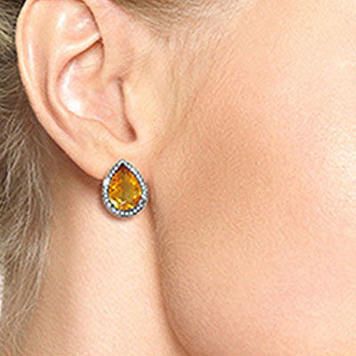 Citrine and Diamond French Clip Halo Earrings 7.0ctw in 14K White Gold