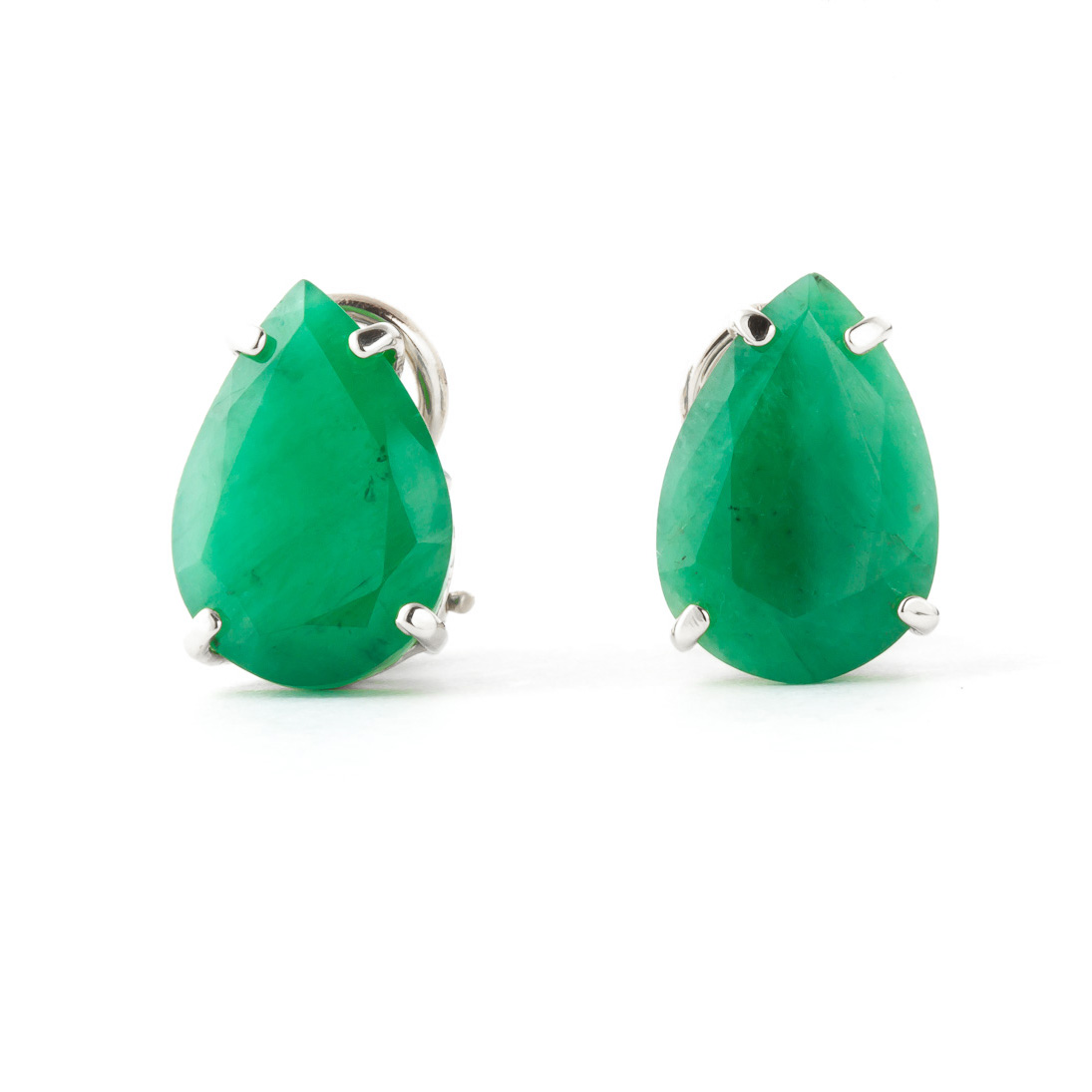 Emerald Droplet Stud Earrings 7.0ctw in 14K White Gold