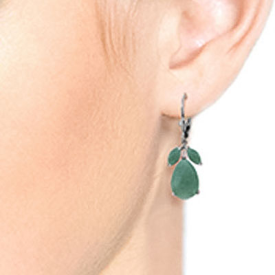 Emerald Drop Earrings 7.0ctw in 9ct White Gold