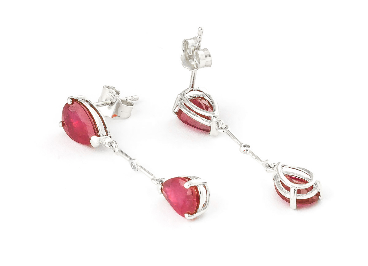 Ruby and Diamond Drop Earrings 7.0ctw in 9ct White Gold