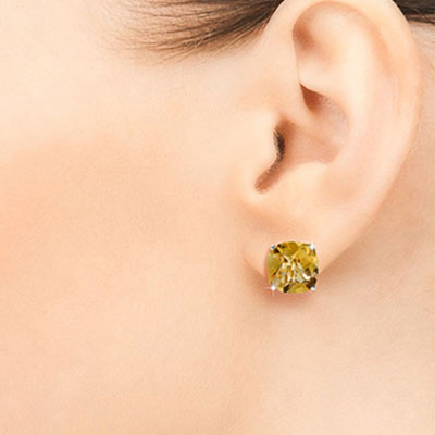 Citrine Stud Earrings 7.2ctw in 9ct White Gold