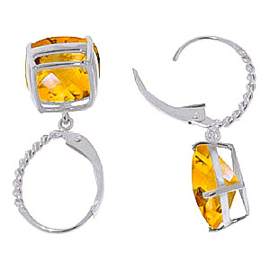 Citrine Rococo Twist Drop Earrings 7.2ctw in 9ct White Gold