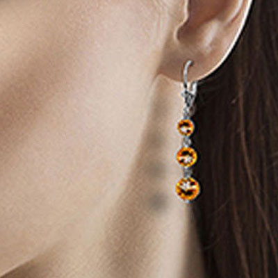 Citrine Trinity Drop Earrings 7.2ctw in 14K White Gold