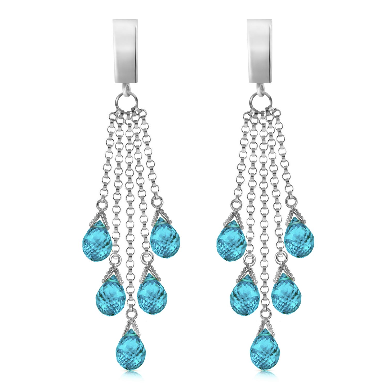 Blue Topaz Droplet Briolette Earrings 7.3ctw in 9ct White Gold