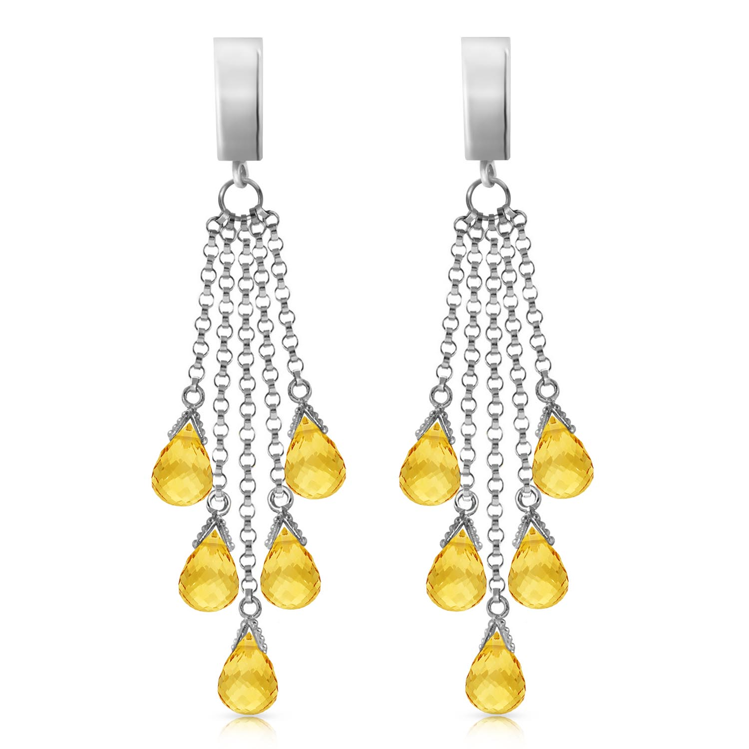 Citrine Droplet Briolette Earrings 7.3ctw in 9ct White Gold
