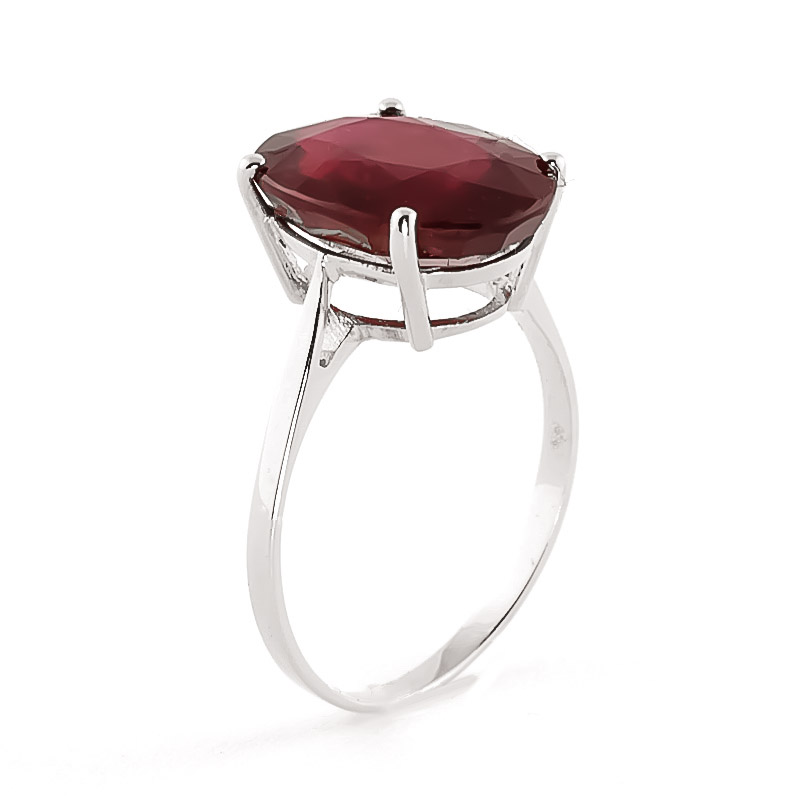 Oval Cut Ruby Ring 7.5ct in 14K White Gold