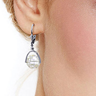 White Topaz Drop Earrings 7.5ctw in 9ct White Gold