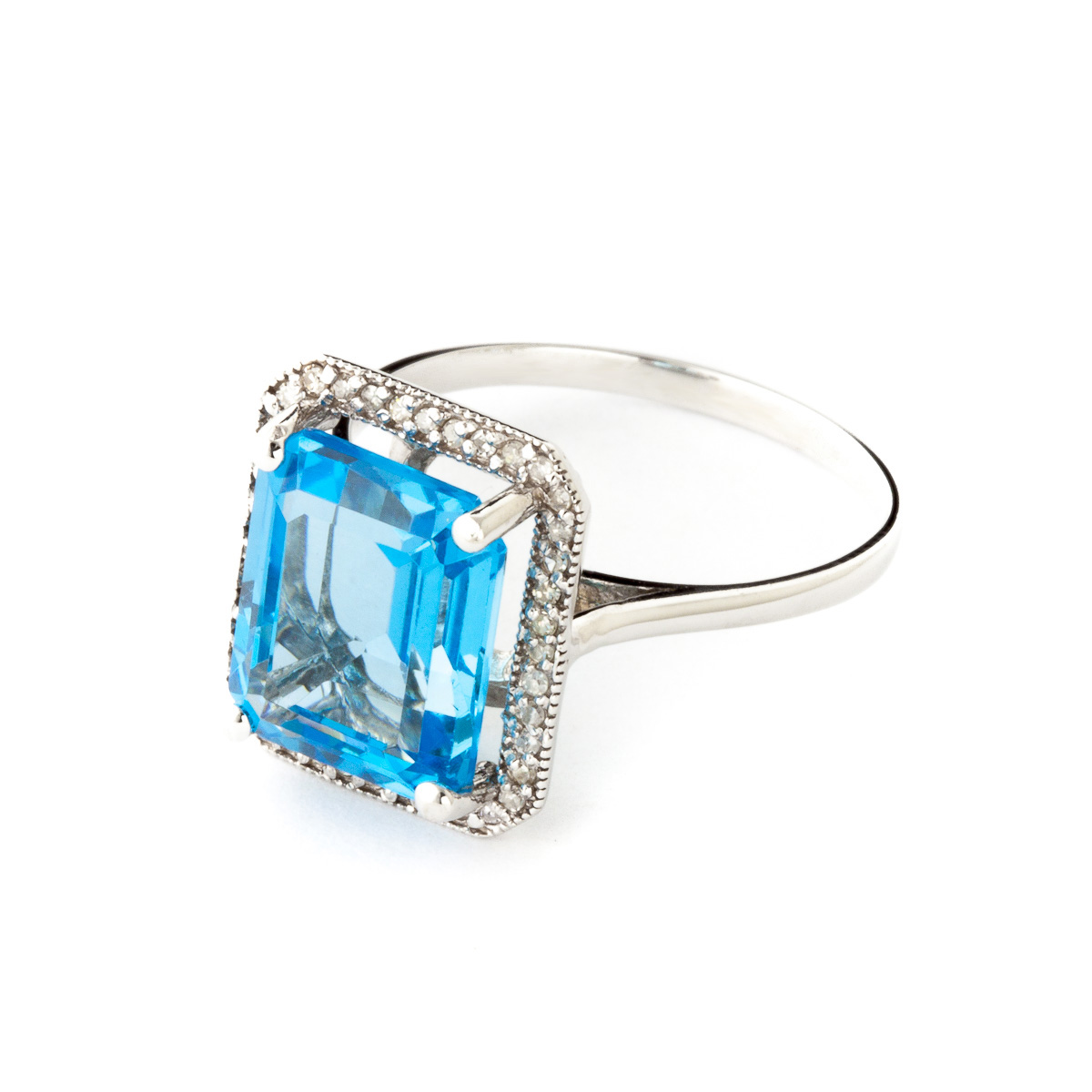 Blue Topaz and Diamond Halo Ring 7.6ct in 14K White Gold