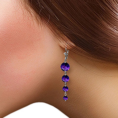 Amethyst Quadruplo Drop Earrings 7.8ctw in 9ct White Gold