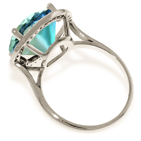 Blue Topaz and Diamond Halo Ring 7.8ct in 9ct White Gold
