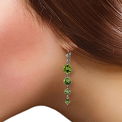 Peridot Quadruplo Drop Earrings 7.8ctw in 9ct White Gold