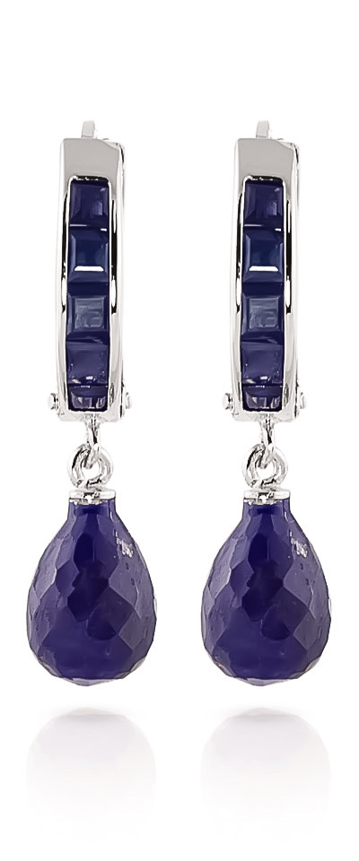 Sapphire Droplet Huggie Earrings 7.8ctw in 9ct White Gold