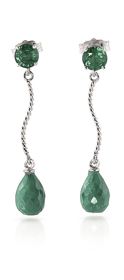 Emerald Lure Drop Earrings 7.9ctw in 9ct White Gold