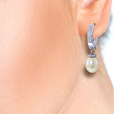 Pearl Earrings 8.0ctw in 14K White Gold