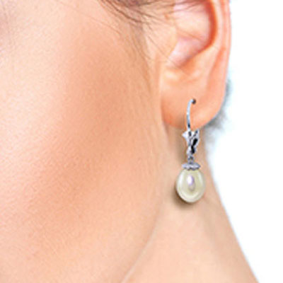 Pearl Drop Earrings 8.0ctw in 9ct White Gold