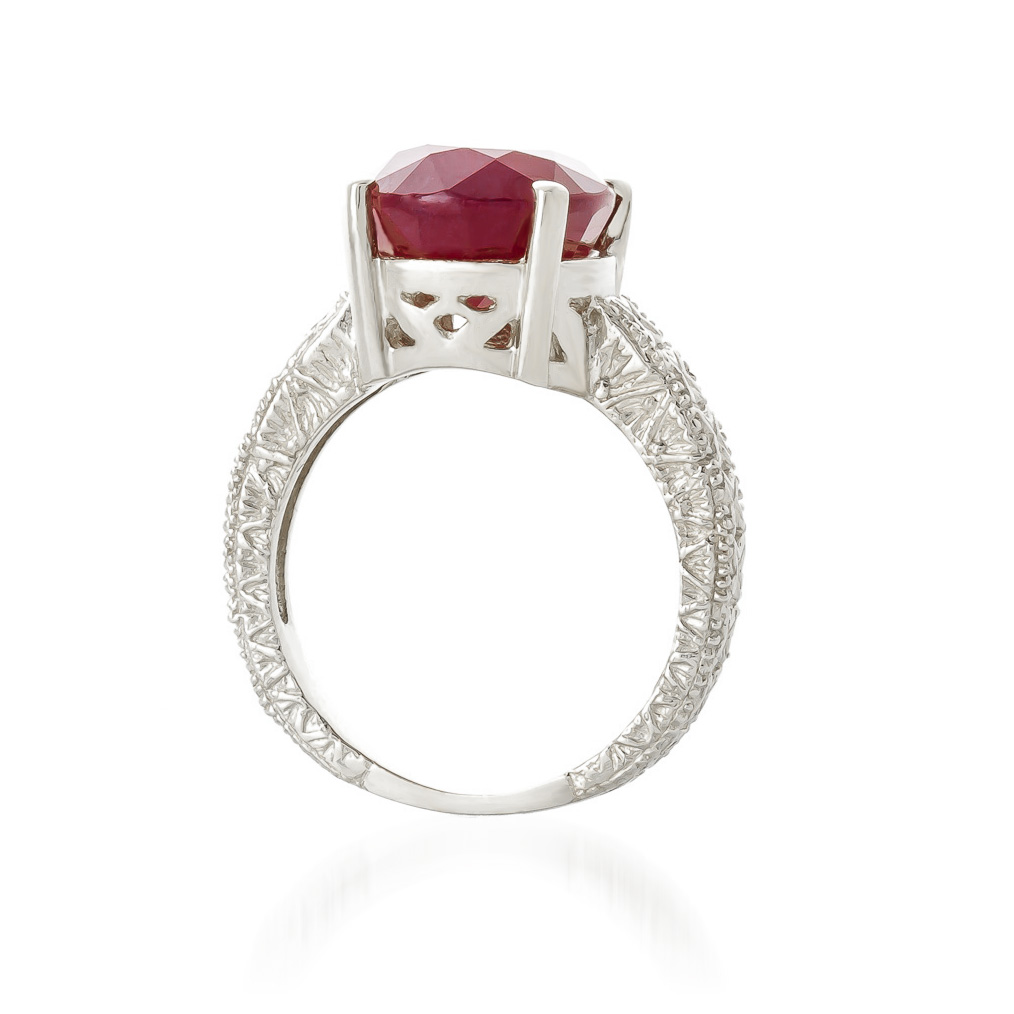 Oval Cut Ruby Ring 8.0ctw in 14K White Gold