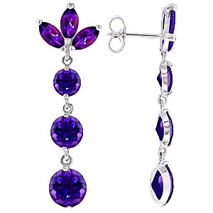 Amethyst Petal Earrings 8.7ctw in 9ct White Gold