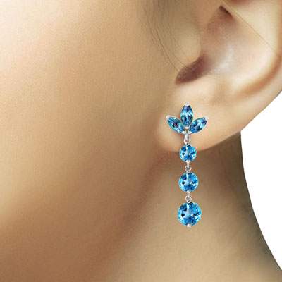 Blue Topaz Petal Drop Earrings 8.7ctw in 9ct White Gold