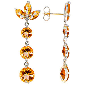 Citrine Petal Drop Earrings 8.7ctw in 9ct White Gold