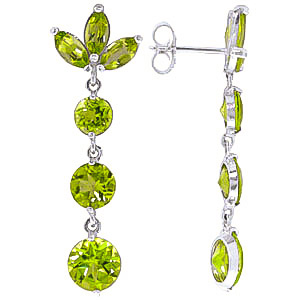 Peridot Petal Drop Earrings 8.7ctw in 9ct White Gold