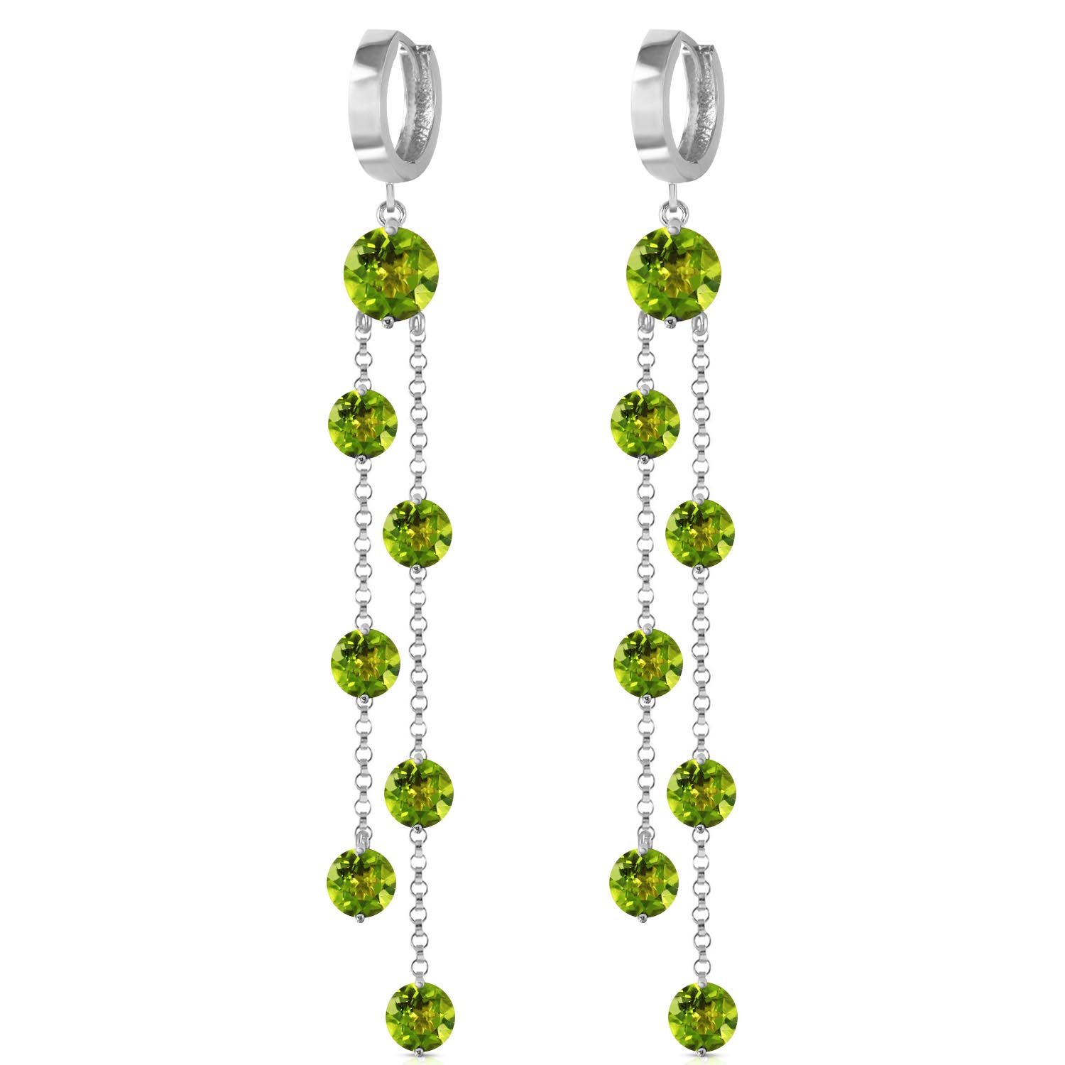 Peridot Roman Drop Earrings 9.02ctw in 9ct White Gold