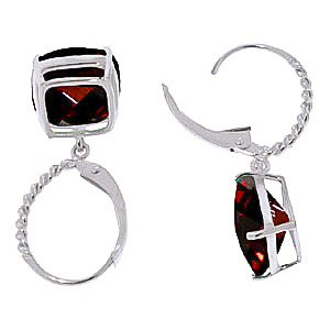 Garnet Rococo Twist Drop Earrings 9.0ctw in 14K White Gold