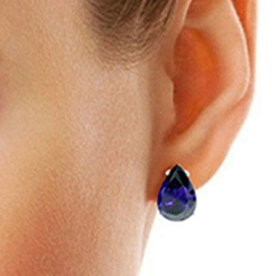 Sapphire Droplet Stud Earrings 9.3ctw in 9ct White Gold