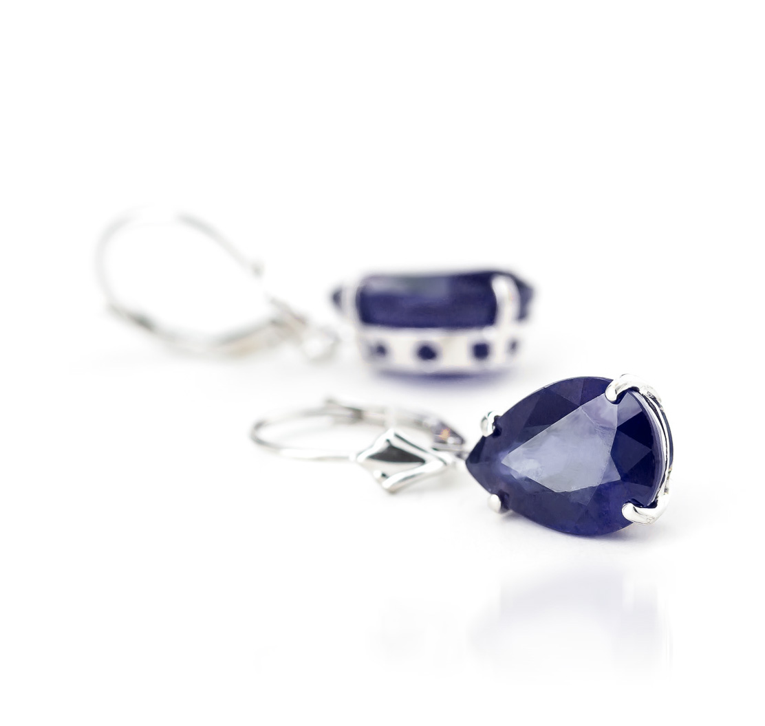 Sapphire Drop Earrings 9.3ctw in 9ct White Gold